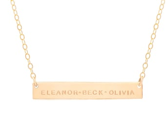 The Everly Bar / Extra Long Gold Bar Necklace / Personalized Gold Bar Necklace / Nameplate Necklace /