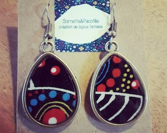 Aboriginal fabric and limited edition-resin drop earrings