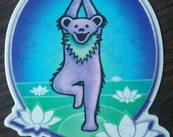 Namaste Dancing Bear Sticker, Yoga Bear Sticker, Tree Pose, Grateful Dead Sticker, Dancing Bear, Grateful Yoga, Jerry Garcia, Yoga Bear