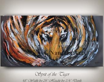"Animal Painting, 48"" Tiger Art, Animal Art, Wildlife, Animal Wall Art, large Cat painting, Original Safari Art Handmade Artwork by Nandita"