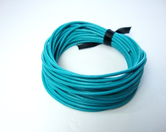Turquoise Leather Cord, Round Leather Cord, 1.5mm Round Cord, Genuine Leather Cord, Bracelet Necklace Leather