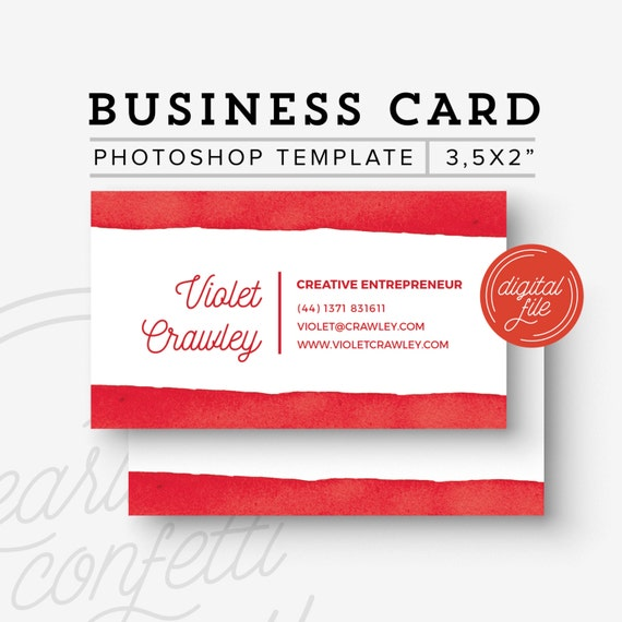items similar to watercolor borders business card template premade business card psd diy. Black Bedroom Furniture Sets. Home Design Ideas