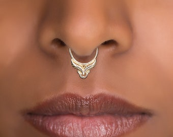 Tiny Fake Septum Rings For Non Pierced Nose.  Tribal Septum Ring. Septum Piercing. Fake Septum. Tribal Jewellery