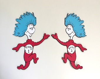 18in Thing 1 and Thing 2 Set, Dr Seuss Party Decoration, Cat in the Hat, Dr Seuss Party, Theme Party, Party Decoration