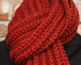 Red Scarf, Hand Knit, Merino Wool and Silk