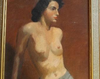 VIntage 1950s Female Figure Oil Painting Mid Century Nude