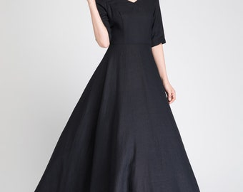 prom dress long, black linen dress, formal dress, maxi dress black, prom dress long, ladies dresses, V neck dress, bridesmaid dress 1893