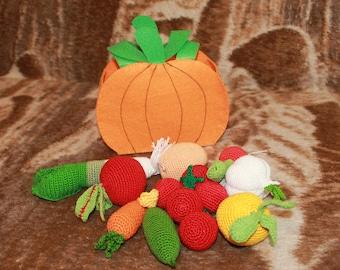 Set Crochet Vegetable 9PCs Play Food Decor Children Room Eco-friendly Toys Birthday Gift Sensory Play Food Kitchen Decoration Bag Of Pumpkin