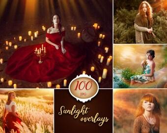 100 sunlight overlays, lens flare overlay, photoshop overlay, photography prop, digital download, natural light, light overlay, rays, beam