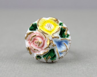 Victorian Gilded Flower Bouquet - adjustable Vintage glass button cocktail ring, up cycled, repurposed statement ring