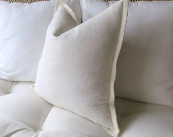 Ivory Linen Pillow Cover, Off White Pillow Cover, Flange Edge Pillow, 20 x 20 inch 22 x 22, inch, 24 x 24, inch, Euro Sham, Pillow Sham