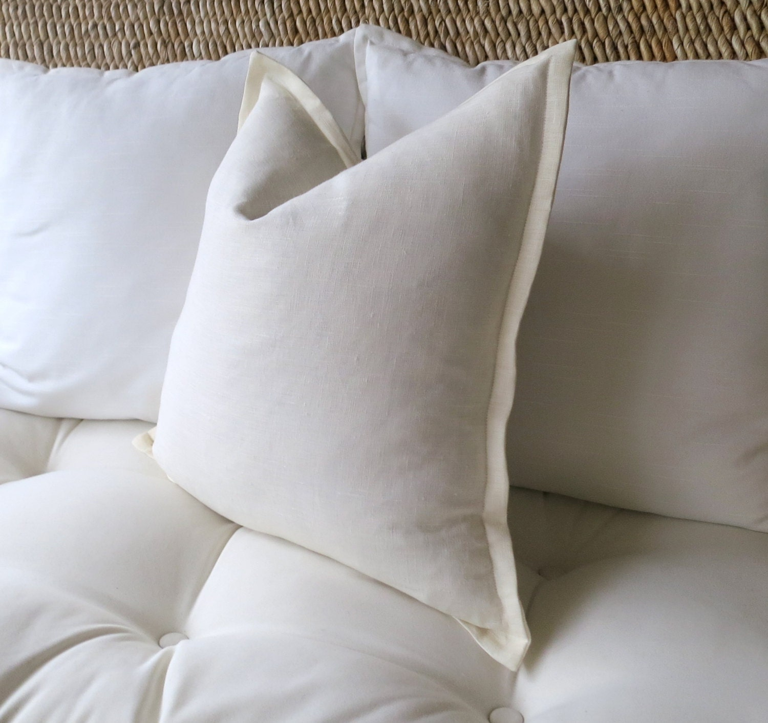 Ivory Linen Pillow Cover Off White Pillow Cover Flange Edge