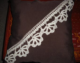 handmade Brown cushion with an ecru chrochet frieze