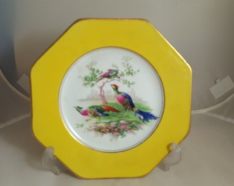 Wedgwood Imperial Porcelain Pheasants Plate Yellow 1900s