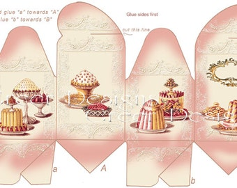 Printable Gift Box Digital Download French Pastry Cakes Vintage Victorian Style Pink Birthday Party Favor
