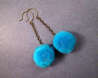 Pom Pom Earrings, Aqua Blue and Brass, Long Dangle Earrings, FREE Shipping U.S.