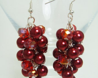Red Pearl Cluster Earrings Chunky Red Earrings, Red Pearl Earrings, Pearl & Crystal Earrings, Red Bridesmaid Earrings, Crimson Earrings