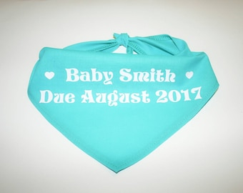 Dog BANDANA, Custom Dog Bandana, Baby Announcement, Personalized Dog Bandana, Dog Scarf, Dog, Teal