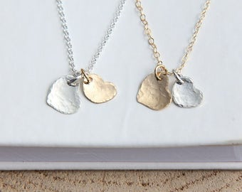 Mommy and Me Jewelry, Mother Daughter Necklace, Mother Daughter Jewelry, Two Heart Necklace, Silver and Gold Heart Necklace, Heart Necklace