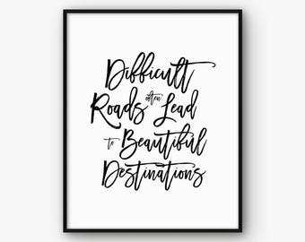 Motivational Print, Inspirational Wall Art, Motivation Poster, Inspiration Quote, Modern Typography Decour, Black and White, Hard Work