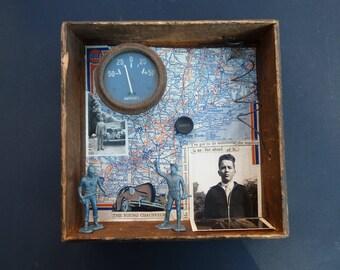 Assemblage Art Shadowbox Folk Art Original Wall Art Found Objects Maps Old Vintage Antique Driver New England Northeast Chauffeur