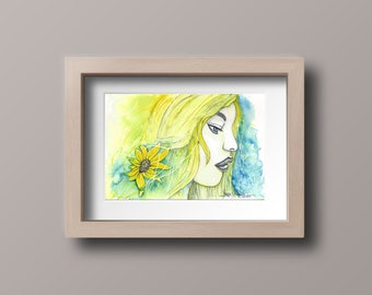 Yellow Haired Girl in Watercolor. Hand Painted in Acid Free Paper.