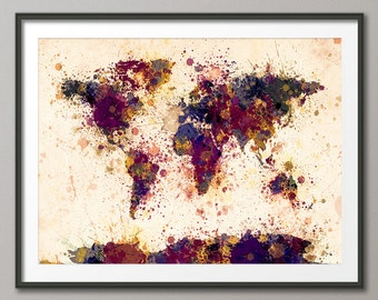 Paint Splashes Map of the World Map, Art Print (1712)