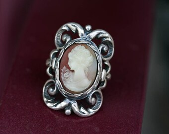 Cameo Ring | Handcrafted Solid Sterling Silver w/Textured Acanthus Scroll Accents Ornate Jewelry Handmade Gift for Her - Aleks Jewelry