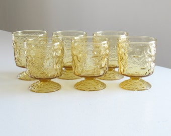 Vintage amber crinkle glasses set / Lido Milano Amber Pedestal Glassware Anchor Hocking / 1970s summer barware