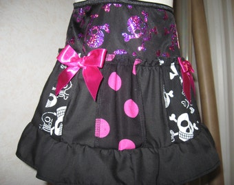 Black,white,pink,Spots,funky Skulls Frilly Skirt,Punk,Goth,Rock,Festival,All sizes,Goth,sequoia
