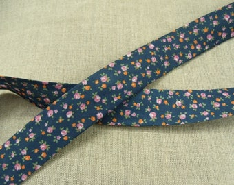 Liberty fabric with flowers pink & ORANGE - Navy blue background