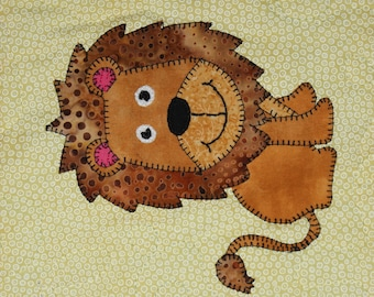 Lion PDF applique pattern; African safari animal PDF applique quilt block pattern; zoo animal quilt PDF; baby or child's quilt pattern