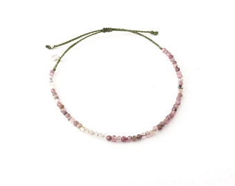 Pink Tourmaline Bead Bracelet * beach bracelet * boho adjustable bracelet * delicate braided bracelet * october birthstone bracelet