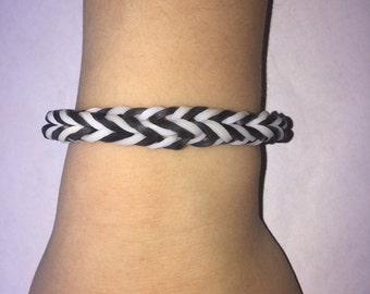 Zebra Style Loom Rubber Band Bracelet-Fishtail Design (Free Shipping)