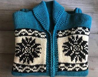 1950s Nordic Ski Sweater, Wool Cardigan, Hand Knit, Scandinavian Design, Turquoise Blue, Snowflake, Zip Up, Large, X Large