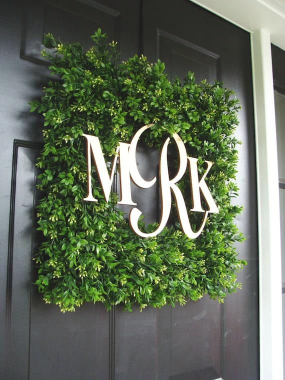 Square Monogram Boxwood Wreath, Boxwood Monogram Wreath, Outdoor Spring Wreath, Housewarming Gift, Wedding Wreath 20 INCH shown