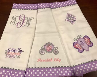 Customized/Monogrammed Baby Burp Cloths, Set of 2 or 3