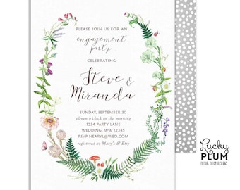 Wildflower Engagement Invitation / Wild Flower Wildflower Couples Shower Invitation / Greenery Botanical Digital Printable WF01