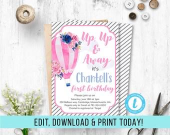 Hot air Balloon Birthday Girl Invitation, Balloon Invitation Girl, Balloon Invite, Hot Air Birthday, Template, Printable, Editable, PDF, DIY
