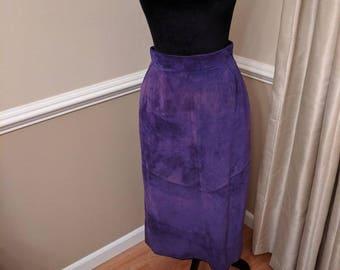 Vintage Purple Suede Leather Skirt