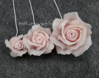 3 Roses, polymer clay flower, flowers for decor