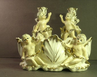 1950's Ceramic Cherub Set Pair Candlesticks Jardiniere Bowl Table Decor Romantic Cupid Angels Renaissance Victorian French Hand Painted