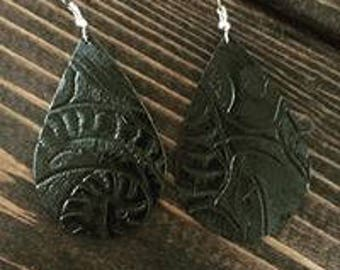 Leather Earrings, Embossed, Black, Tear Drop, Lightweight