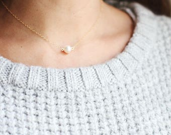 Single Pearl Choker Necklace | 14k Gold Fill | Sterling Silver | Layered Choker | Layering Necklace