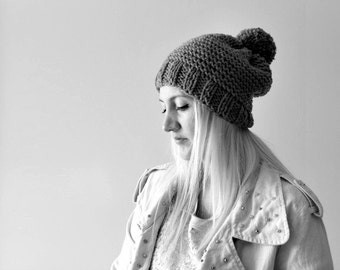 Grey pompom hat, knit pompom hat, pom pom beanie, womens pompom hat, mens pompom hat, grey pompom hat, womens mens slouchy hat, gift for her