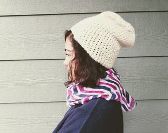Beanie beige Slouchy Beret Crochet Hat Celebrity style fall winter fashion boho hippie hat made with soft worsted yarn