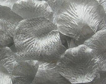 Silver Dust Silk Petals {Package of 100} //// Silk Flower Petals, Silk Rose Petals
