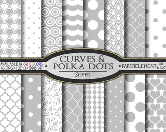 Silver Polka Dot Digital Paper: Silver Geometric Digital Paper - Printable White and Silver Patterns for Downloadable Scrapbook Papers