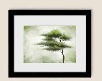 5 x 7 Tree Art Nature Green Wall Decor, Living Room Artwork for Home, Bedroom Wall Art (130)