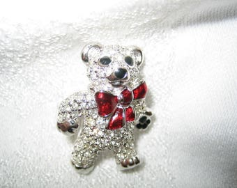 Adorable Signed Swarovski Rhinestone Teddy Bear Brooch